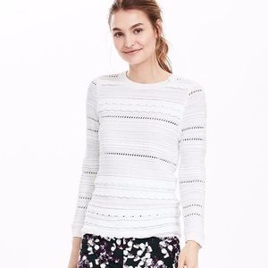 NWT Banana Republic White Scalloped Knit Sweater